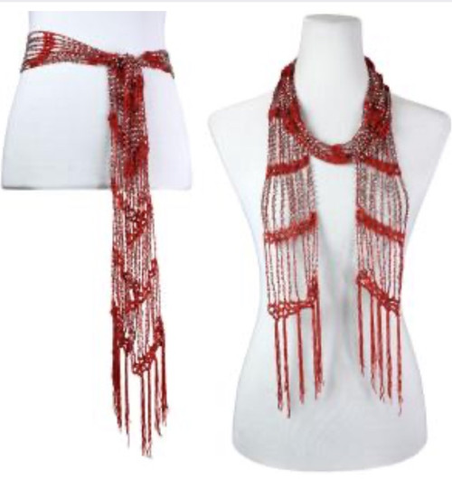 Silver Beaded Open Ended Scarf Burgundy