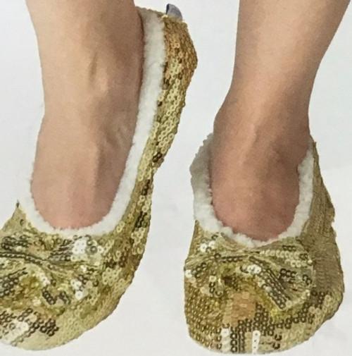 Sequin Ballet Slippers Gold