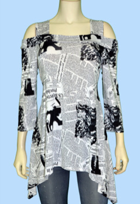 Cold Shoulder Tunic Black and White Newsprint