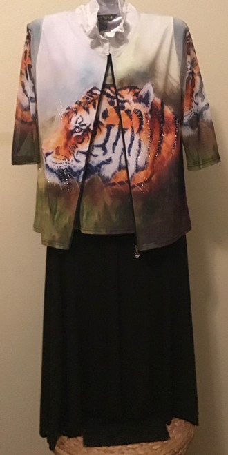 Shell and Jacket Set with Tiger Design (matching skirt)