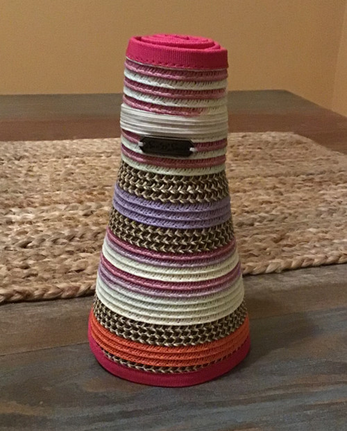 Roll-Up Adjustable Visor Natural with Coral, Pink, White, and Lavender Stripe