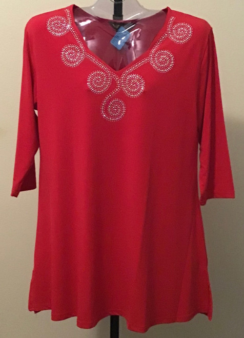 Scallop Tunic with Bling - Red
