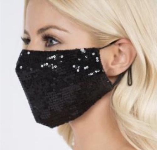 Sequin Face Mask - Black