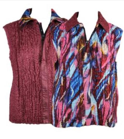 Reversible Zipper Vest Multi Blue, Hot Pink and Burgundy reverses to Burgundy