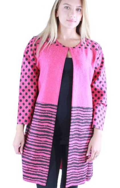 Spring Lightweight Duster Jacket - Fuchsia/Black Lines and Dots