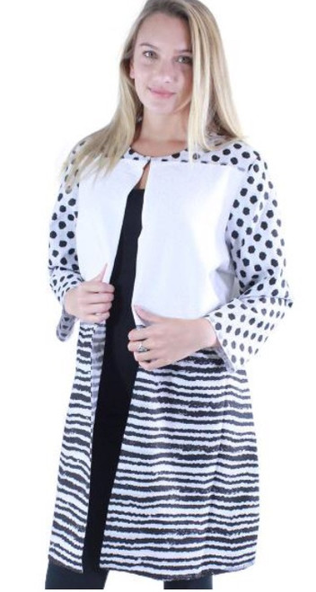 Lightweight Duster Jacket - White/Black Lines and Dots