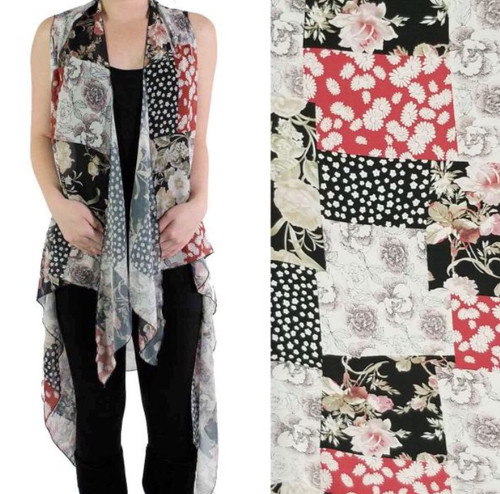Red Patchwork One-Size Chiffon Vest
