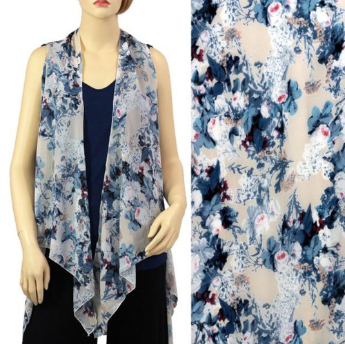 Light Blue with Flowers One-Size Chiffon Vest