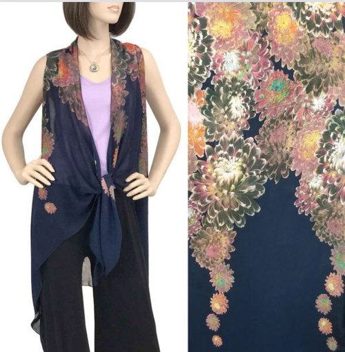 Navy with Flowers One-Size Chiffon Vest