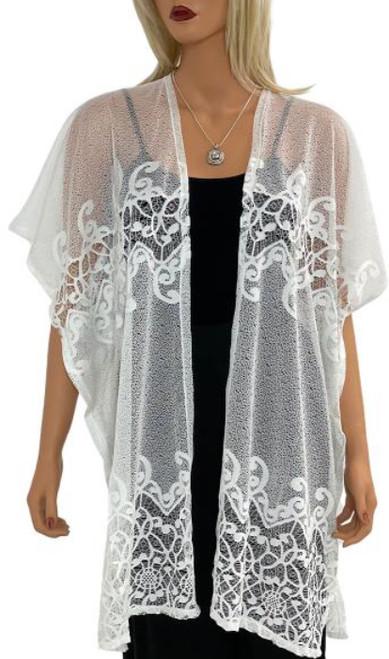 Chiffon Mesh Lace Kimono - White