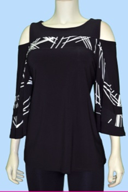 Black with Abstract Cold Shoulder