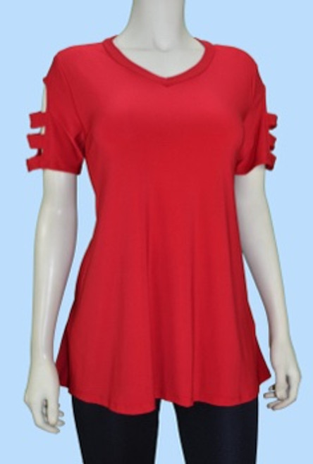 Cut Out 3/4 Sleeve Swing Tunic Red