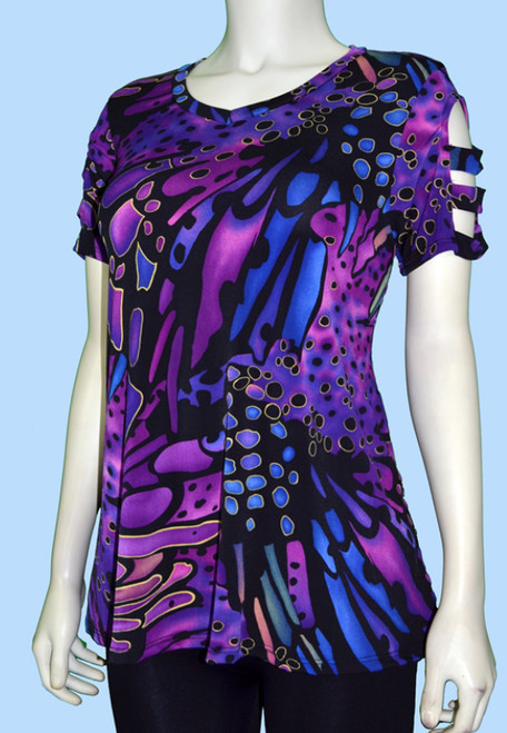 Cut Out 3/4 Sleeve Swing Tunic Blue, Purple and Black