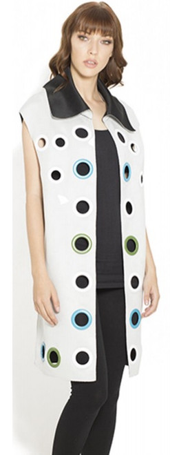 Duster Length Vest with Multicolor Grommets - White with white and teal grommets