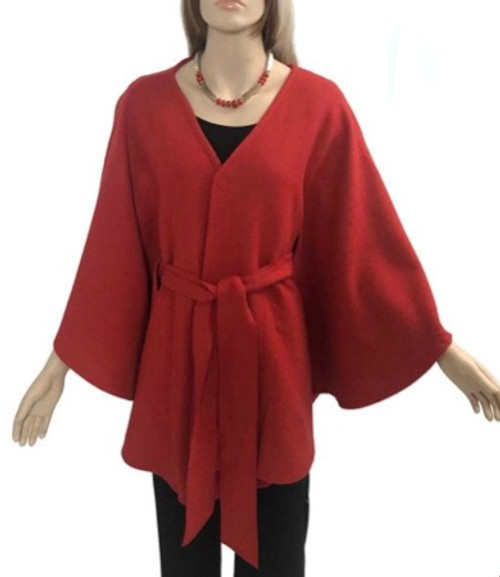 One Size Belted Cape - Red