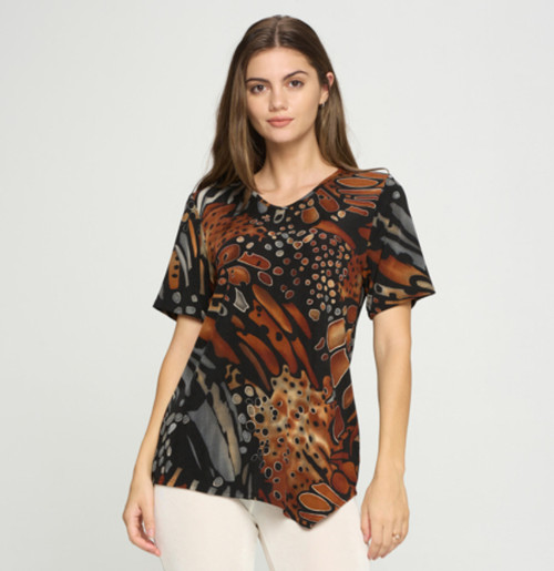 Short Sleeve Abstract V-Neck Top