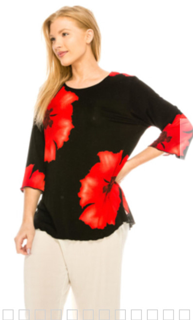 3/4 Sleeve Round Neck with Large Red Flowers on Black