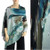 Two-Button Shawl Blue and Brown Abstract