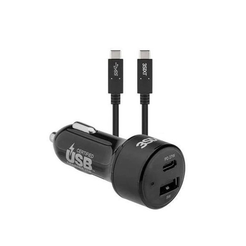 3SIXT Car Charger 27W USB-C PD + USB-C/C Cable 1m