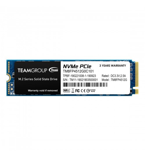 Team Group Mp34 M.2 512GB Nvme Pcie With Dram SSD, R/W,3,000Mb/S / 1700 Mb/S