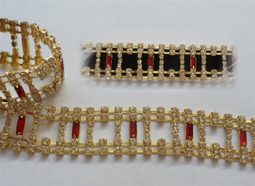 Baguette Red Gold Cut Out Chain 23mm