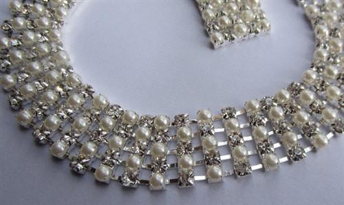 5 Row Chain Alternate Pearl Silver Chain 20mm