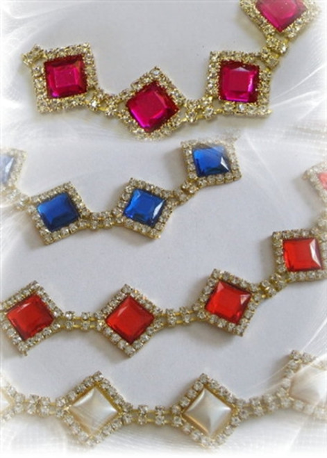 Diamond Chain Hot Pink, Red, Royal Gold 18mm