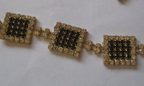 Square Solid Chain Navy Gold  18mm x 10cm