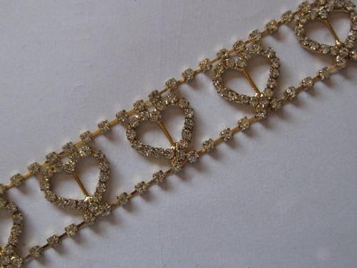 Hearts Gold Chain 23mm x 10cm