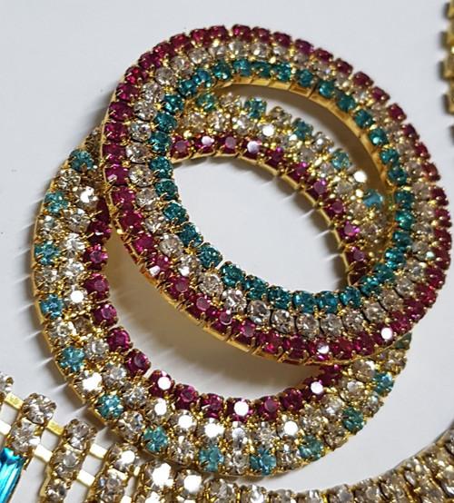 Triple Hot Pink/ Aqua/ Crystal 3 Row Rings Gold