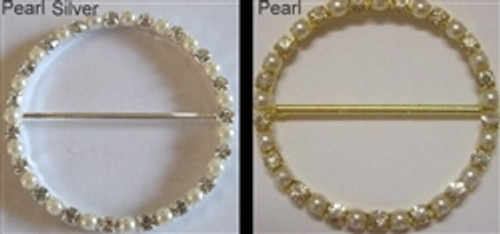 Single Row Pearl Rings 50mm Gold or Silver