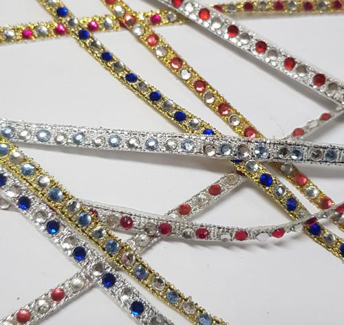 Diamante Ribbon Coloured 1 Row Alternate