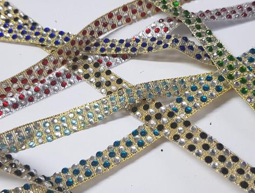 Diamante Ribbon Coloured 3 Row Alternate