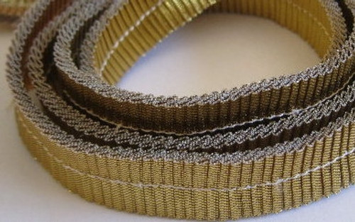 Smooth Pleated Metallic 15mm Gold