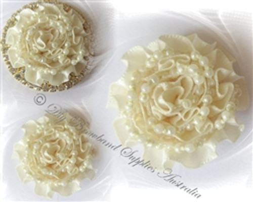 Satin & Pearls Cream or White Carnations