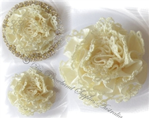 Satin & Lace Cream or White Carnations
