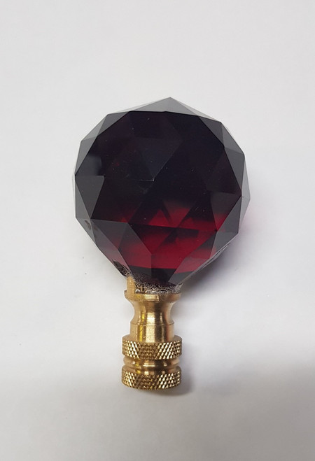 Cane Tops Dark Red Glass 40mm Gold