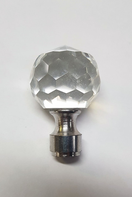 Cane Tops Clear Silver Glass 20mm