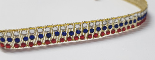 Diamante Ribbon Coloured 3 Row Navy, Red & Clear