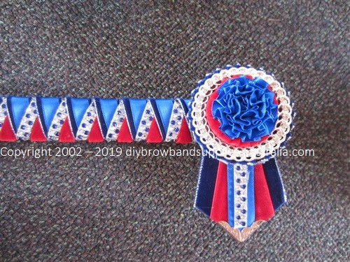 Electric Blue, Red & Silver Sharks Teeth Browband