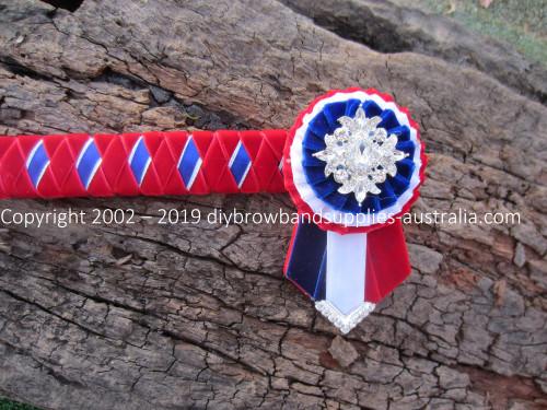 Red, Royal, White & Silver Diamond Browband