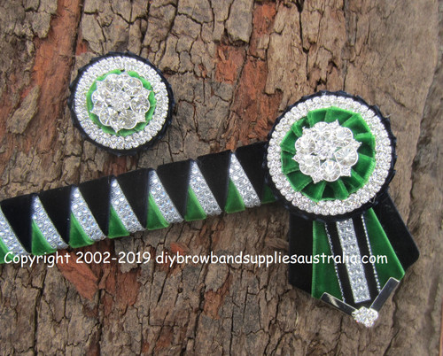 Two Colour Velvet Sharks Teeth Browband with Matching Lapel Pin