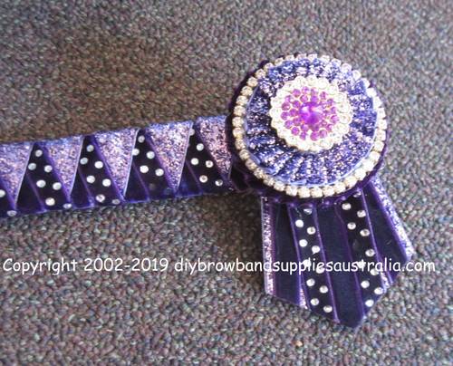 Purple, Mauve Metallic & Silver Sharks Teeth Browband