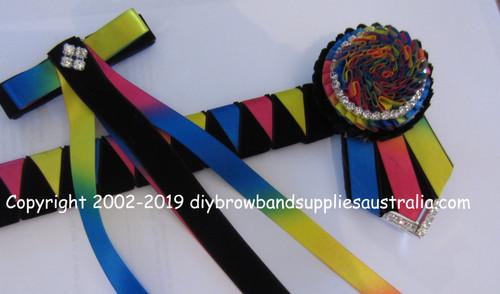 Rainbow & Black Sharks Teeth Browband with Matching Hair Clip