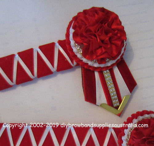 Red, White & Gold Sharks Teeth Browband