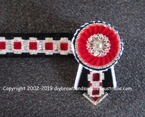 Navy, White, Red & Silver Square Link Chain Browband