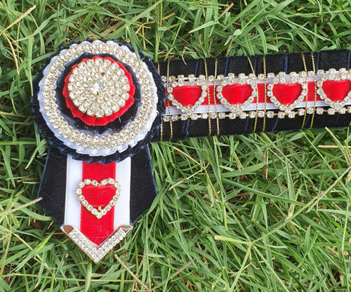 Red, Navy White & Gold Hearts Browband