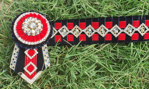 Navy, Red, Gold Teeny Diamonds Browband