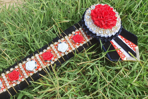 Navy, Red Polka Dot, White & Gold Rose Browband