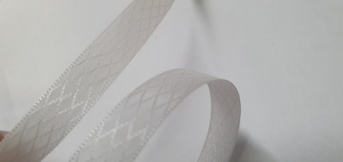 10mm White Patterned Gingham Ribbon x 50cm